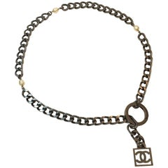 CHANEL Belt in Large Matte Ruthenium Metal Chain