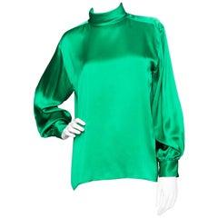A 1980s Vintage Yves Saint Laurent Rive Gauche Green Silk Blouse