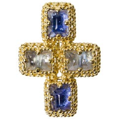 YSL Cross Pendant Brooch with Two Tones of Blue Cabochons