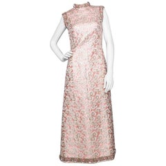 A 1960s Vintage Embroidered Brocade Sleeveless Dress