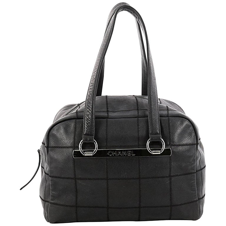 3d3c1c93caa8 Chanel Square Stitch Bowler Bag Quilted Caviar Medium at 1stdibs
