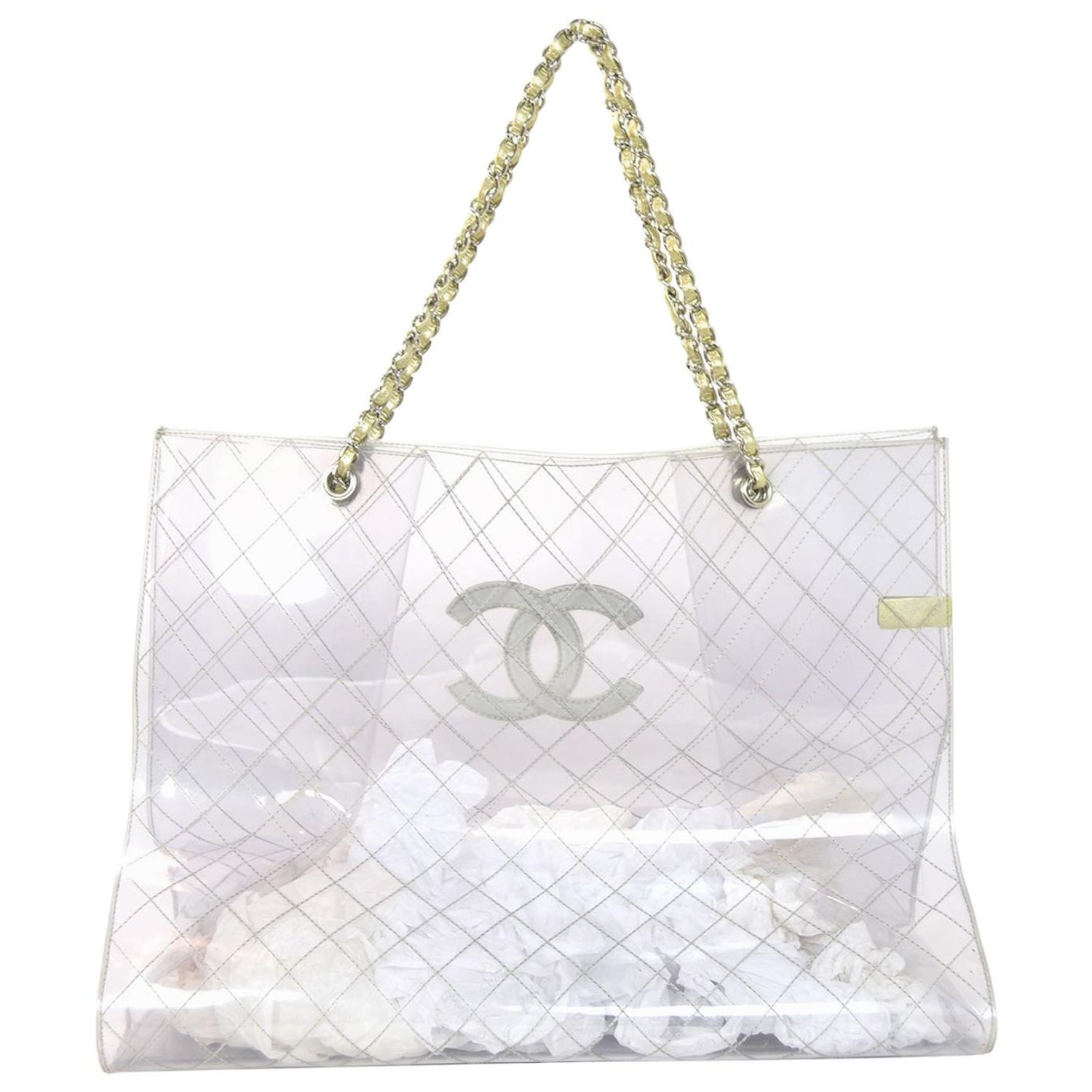 9cc7744df6a3 Chanel Collectors Clear and Gold Quilted PVC XXL CC Tote Bag For Sale at  1stdibs