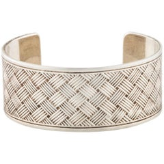 Tiffany & Co. Sterling Silver Textured Evening Wide Cuff Bracelet