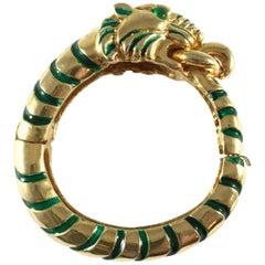 Rare Kenneth Jay Lane Green Enamel Tiger Bracelet 1960s