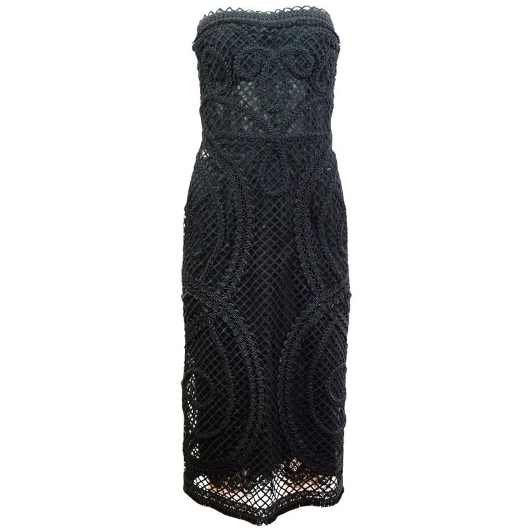 Dolce & Gabbana '15 Runway Black Embroidered Mesh Strapless Dress Sz IT48