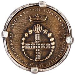 Diamond Audaces Fortuna Invat Statement Coin Ring