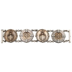 Shannon Koszyk Audaces Fortuna Invat Statement Mixed Metal Coin Bracelet