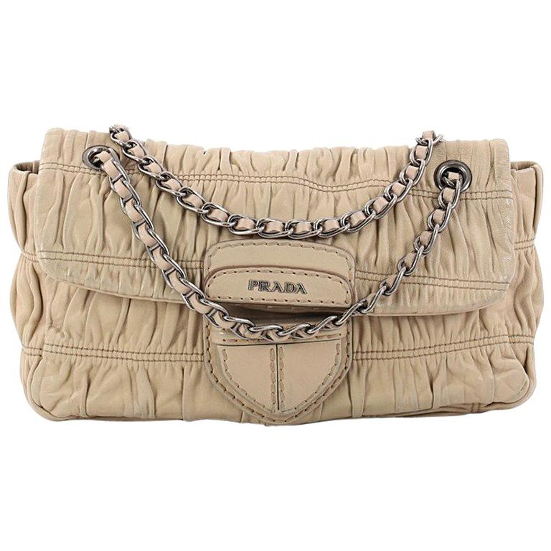 e05007c05f Prada Gaufre Chain Flap Shoulder Bag Nappa Leather Small at 1stdibs