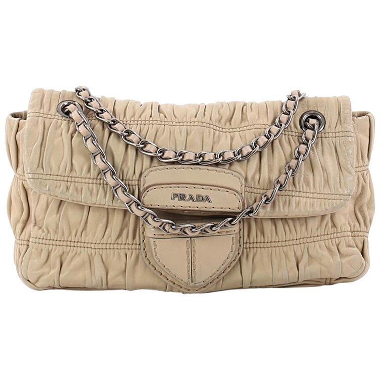 Prada Gaufre Chain Flap Shoulder Bag Nappa Leather Small