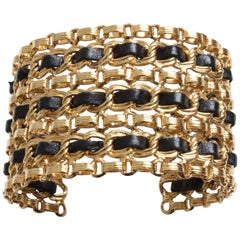 Chanel Vintage Gold Chain and Black Leather Wide Cuff Bracelet