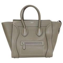 Celine Souris Grey Drummed Calfskin Leather Mini Luggage Tote Bag