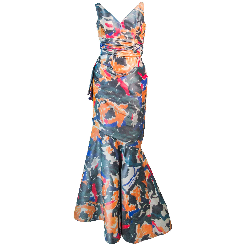 Oscar de la Renta Silk Abstract Ikat Gown