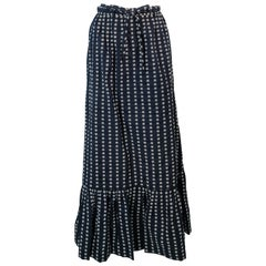 VALENTINO Vintage 1970's Long Navy & White Belted Maxi Skirt Size 8