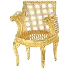 Large Karl Lagerfeld Gilt Gold 3-D Chair Brooch With Pearls