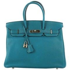 Hermes Birkin Handbag Cobalt Blue Togo with Palladium Hardware 35