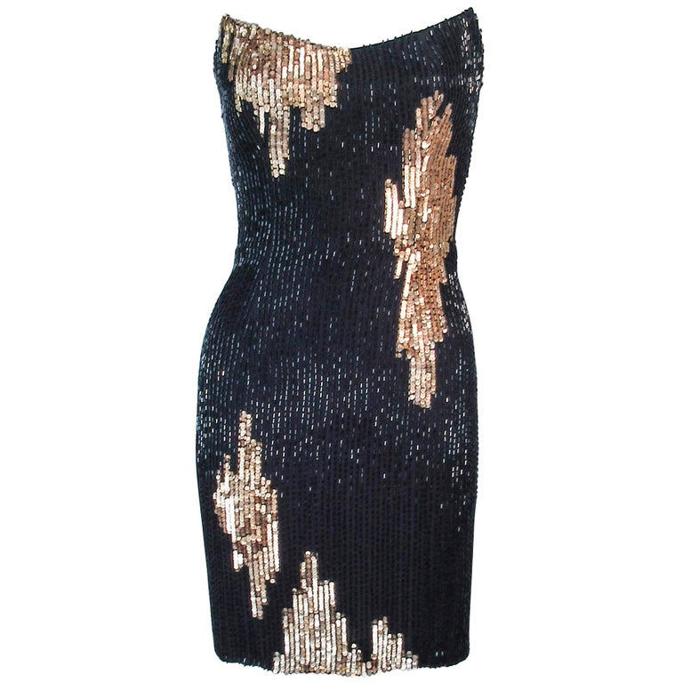 Bob Mackie Black And Gold Beaded Cocktail Dress With Structured Bust