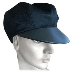 Hermes Black Pure Cashmere Newsboy Hat with Leather Visor
