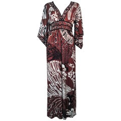 Pucci Vintage Brown and Black Silk Maxi Gown with Draped Sleeves