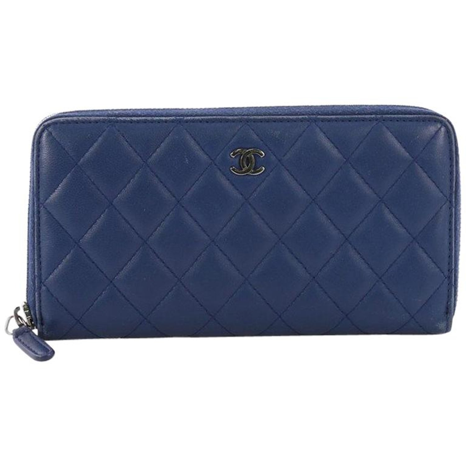 9d4468f1e0e4 Chanel Zip Around Wallet Quilted Lambskin Long at 1stdibs