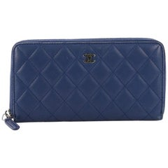 Chanel Zip Around Wallet Quilted Lambskin Long