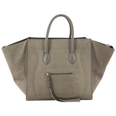 Celine Phantom Handbag Crocodile Embossed Nubuck Medium