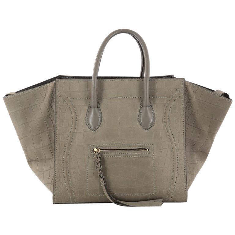 Celine Phantom Handbag Crocodile Embossed Nubuck Medium