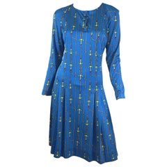 Gucci Nautical Anchor Fit and Flare Dress, 1970s