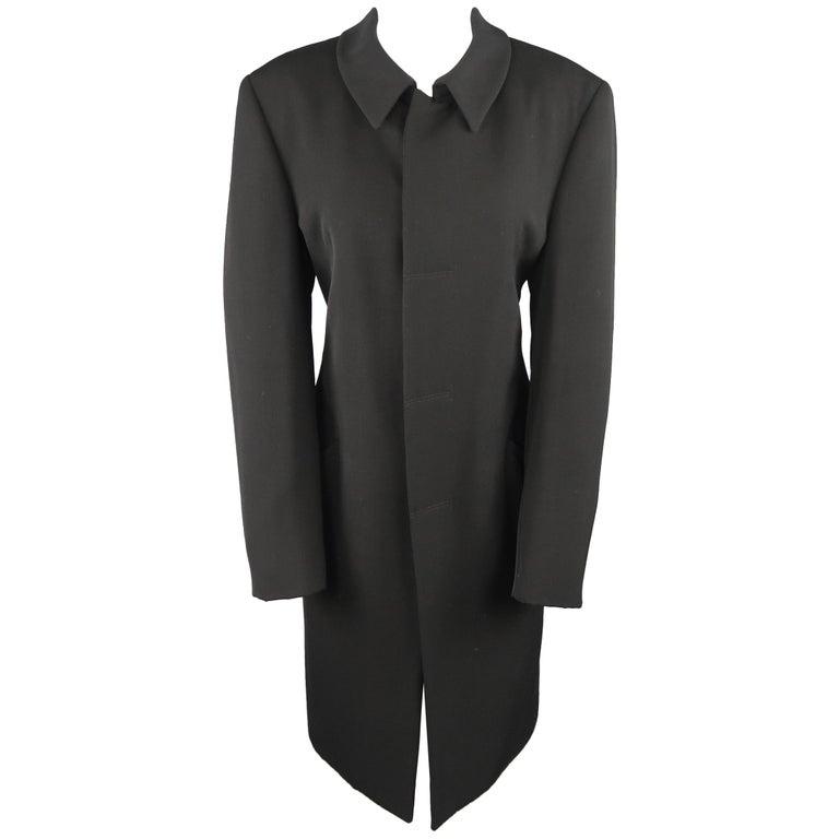 GIORGIO ARMANI Size 12 Black Wool Collared Hidden Placket Snap Car Coat