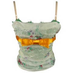 DOLCE & GABBANA Size 2 Green Lace Floral Overlay Orange Bow Bustier Camisole