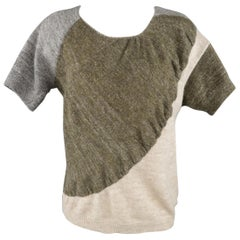 DRIES VAN NOTEN Size S Olive Silver & Beige Wool Blend Short Sleeve Pullover