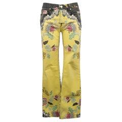 ROBERTO CAVALLI Size S Yellow & Black Floral Print Cotton Blend Jeans
