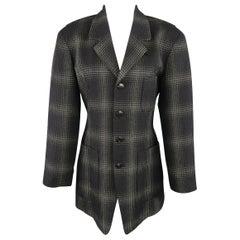 MATSUDA Size L Black & Moss Green Plaid Wool / Silk Jacket