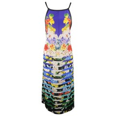 MARY KATRANTZOU Size M Blue Multi-Color Striped Floral Silk Dress