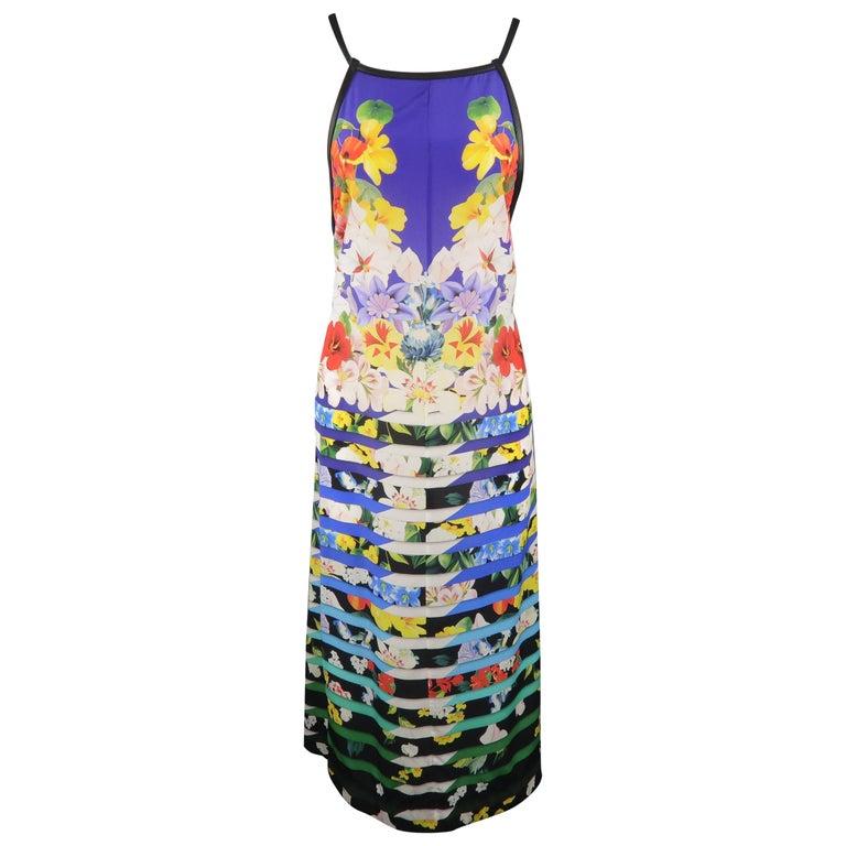 MARY KATRANTZOU Size M Blue Multi-Color Striped Floral Silk Dress