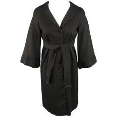 GUCCI Size 6 Black Hemp Blend Canvas Tied Waist - Coat / Jacket
