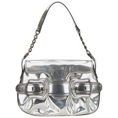 Fendi Silver Patent Leather Baguette