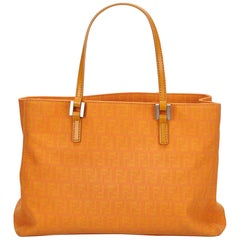 Fendi Brown x Light Brown x Orange Zucca Jacquard Tote Bag