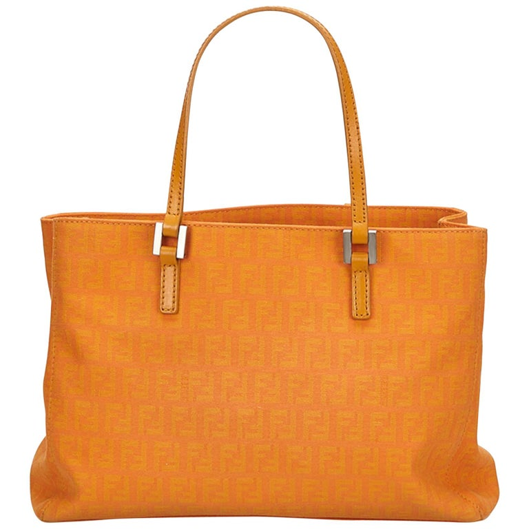 760fdad12c Fendi Brown x Light Brown x Orange Zucca Jacquard Tote Bag at 1stdibs