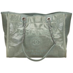 Chanel Green x Light green Deauville Chain Tote