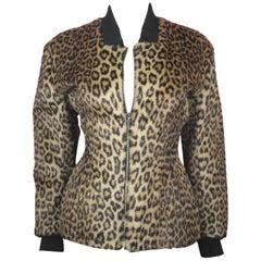 Jean Paul Gauliter Faux Leopard Fur Jacket, c. 1990's, US Size 4