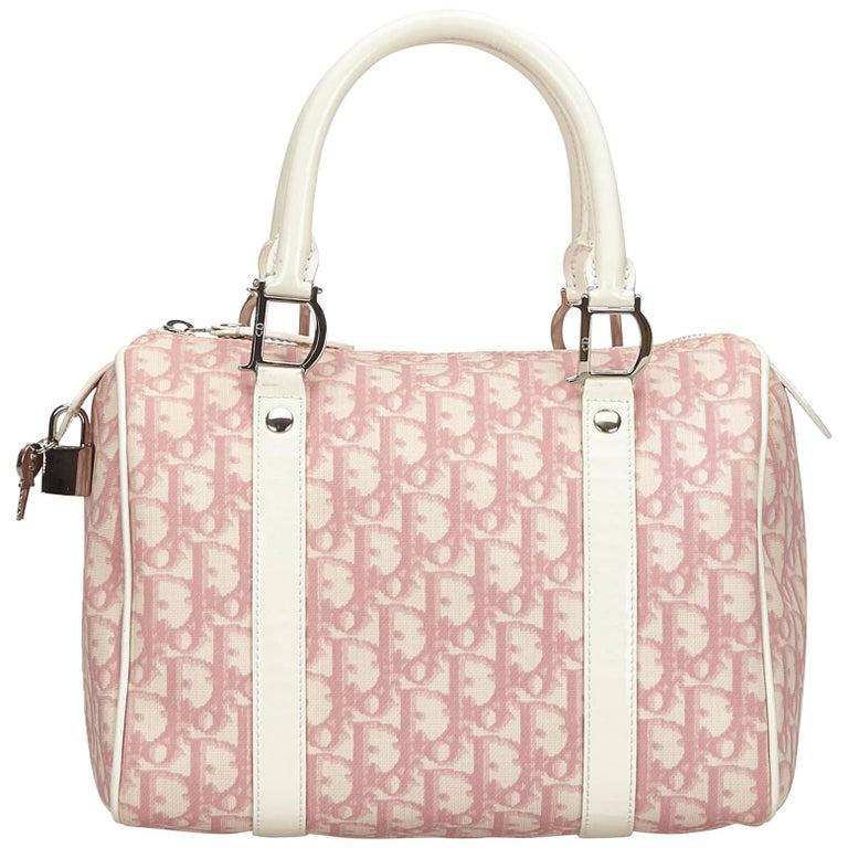 Dior Pink x White Jacquard Diorissimo Boston Bag