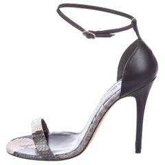 Alexander McQueen Black Gray Snake Print Evening Sandals Heels