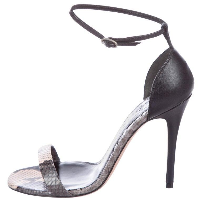 d87aba8b9226 Alexander McQueen Black Gray Snake Print Evening Sandals Heels For Sale
