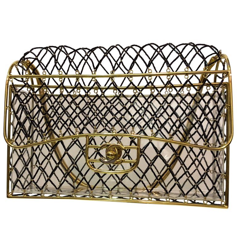 Chanel Jet Beaded Gold Frame Cage With Chain Handle and CC Logo Clasp Box Bag