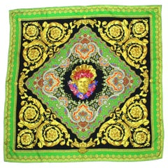 Atelier Versace Baroque and Paisley Print Silk Scarf, 1998