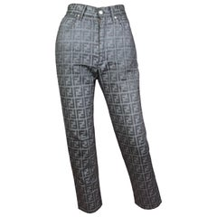 Fendi Zucca Print Grey High Waisted Jeans, Size 25 W