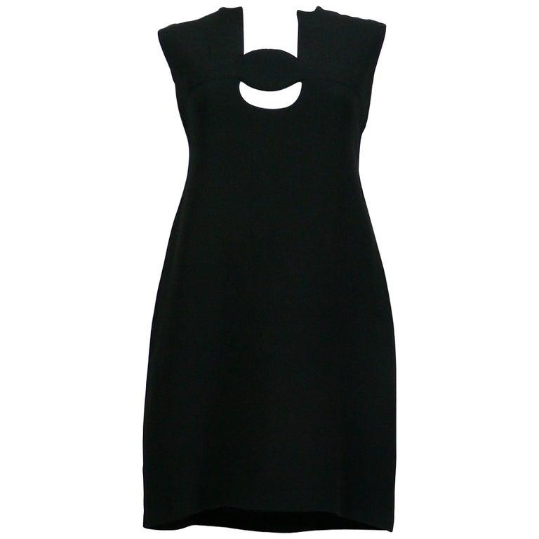 Pierre Cardin Vintage Space Age Cut Out Circle Little Black Dress