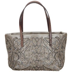 Fendi Gray x Brown Beaded Leather Tote
