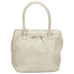 Dior White Leather Tote Bag