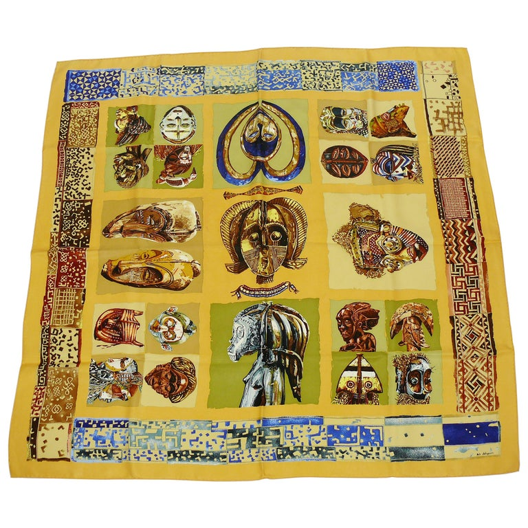 Hermes Vintage Silk Carre Scarf Persona by Loic Dubigeon